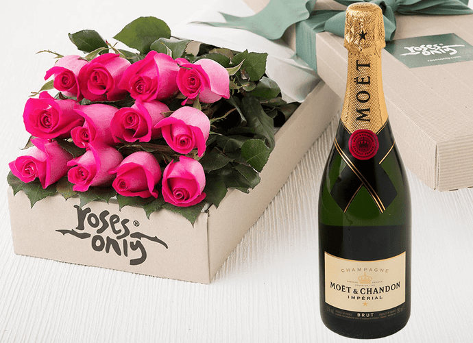 12 Bright Pink Roses Gift Box & Champagne