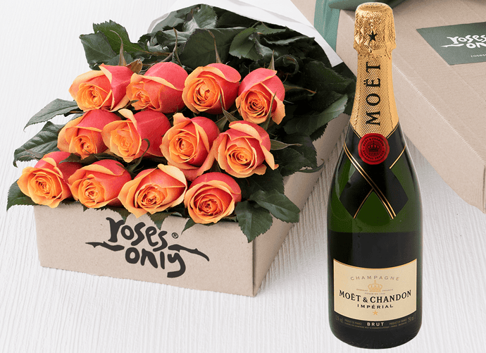 12 Cherry Brandy Roses Gift Box & Champagne