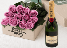 12 Mauve Roses Gift Box & Champagne