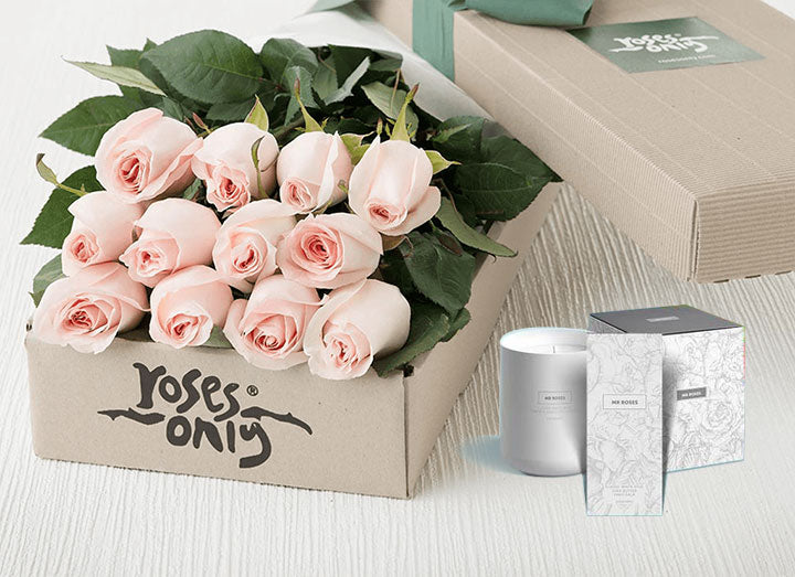 Pink Roses Gift Box 12 & Candle & Hand Cream