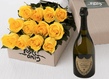 12 Yellow Roses Gift Box & Champagne