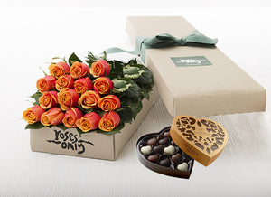16 Cherry Brandy Roses Gift Box & Chocolates