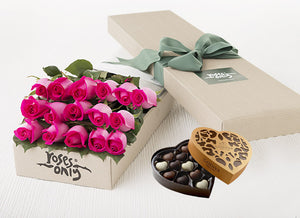 16 Bright Pink Roses Gift Box & Chocolates