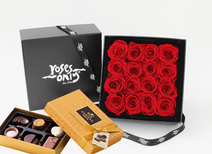 Mother's Day 16 stunning red infinity roses, beautifully presented in a black box & Gold Godiva Chocolates