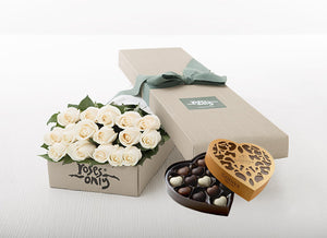 16 White Cream Roses Gift Box & Chocolates