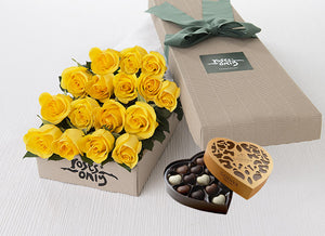 16 Yellow Roses Gift Box & Chocolates