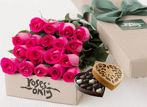 18 Bright Pink Roses Gift Box & Chocolates