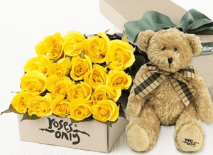 18 Yellow Roses Gift Box & Teddy Bear