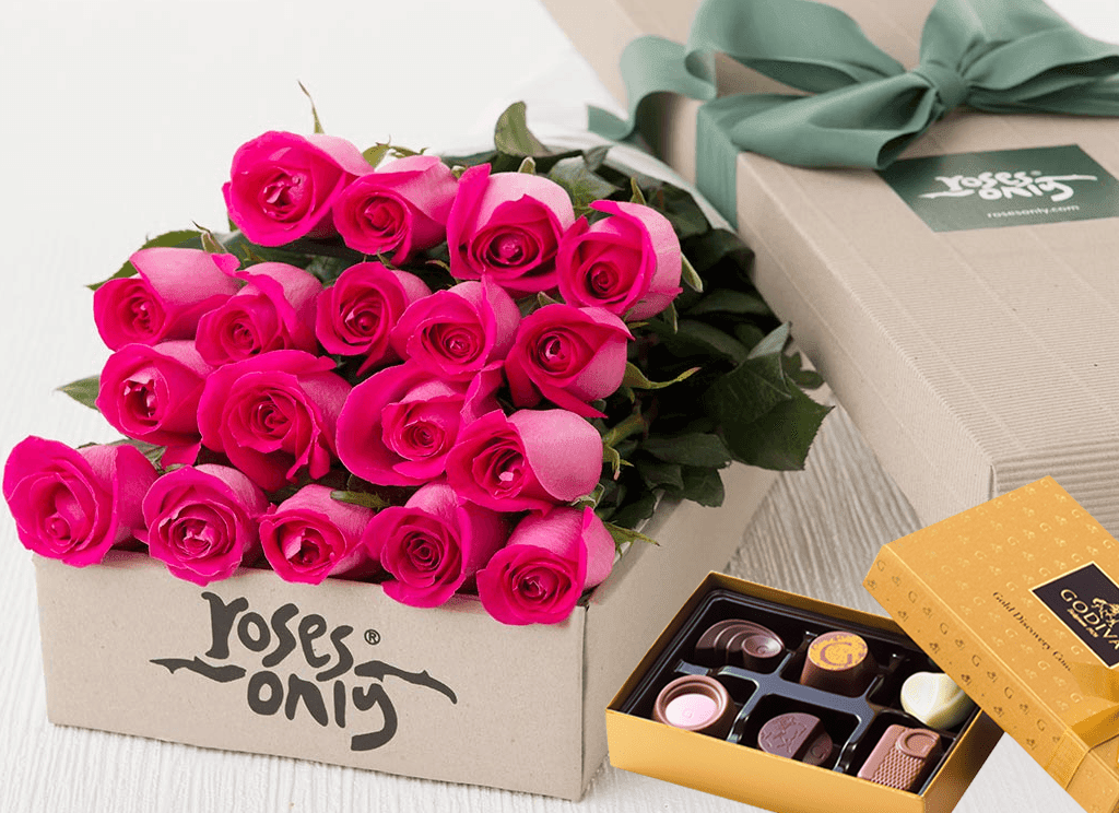 Mother's Day 18 Bright Pink Roses Gift Box & Chocolates