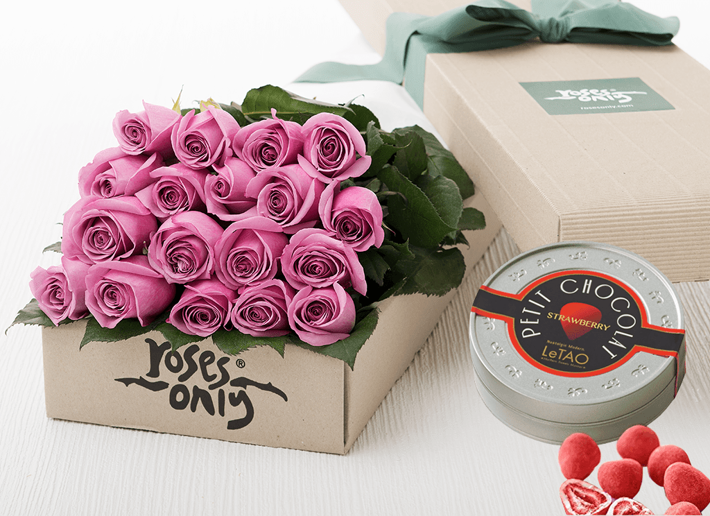 18 Mauve Roses Gift Box & Chocolates
