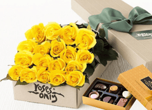 Mother's Day 18 Yellow Roses Gift Box & Chocolates