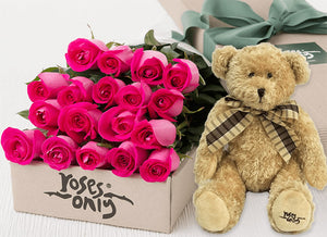 18 Bright Pink Roses Gift Box & Teddy Bear