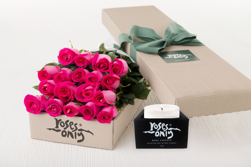 18 Bright Pink Roses Gift Box & Scented Candle
