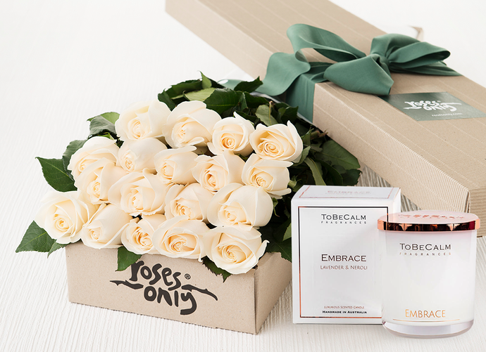 18 White Cream Roses Gift Box & Scented Candle