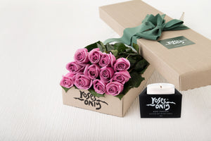 18 Mauve Roses Gift Box & Scented Candle