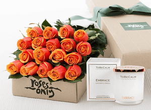 18 Cherry Brandy Roses Gift Box & Scented Candle