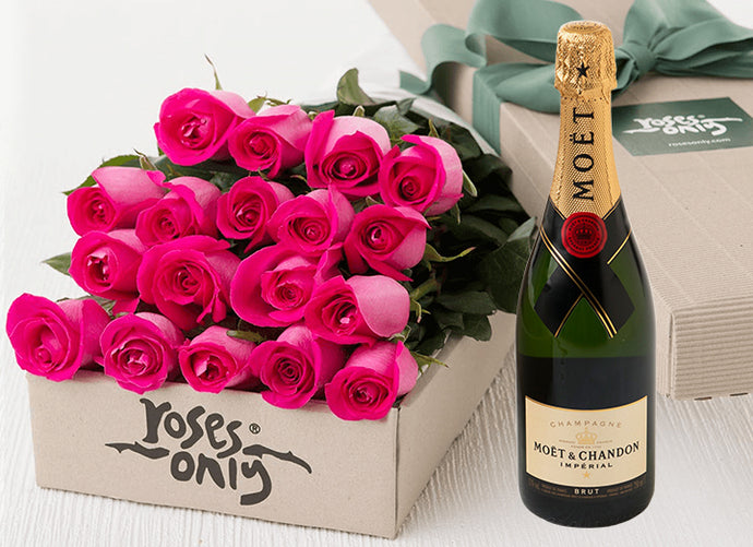 Bright Pink Roses Gift Box 18 & Champagne