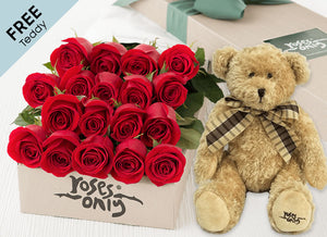 18 Red Valentines Roses + FREE Teddy