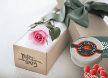 Single Pastel Pink Rose Gift Box & Chocolates