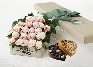 21 Pastel Pink Roses Gift Box & Chocolates