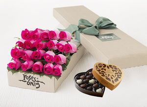 21 Bright Pink Roses Gift Box & Chocolates