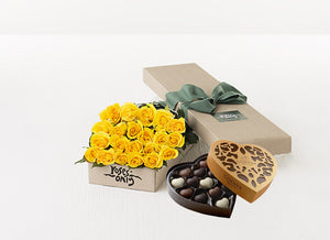 21 Yellow Roses Gift Box & Chocolates