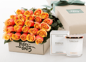 24 Cherry Brandy Roses Gift Box & Scented Candle