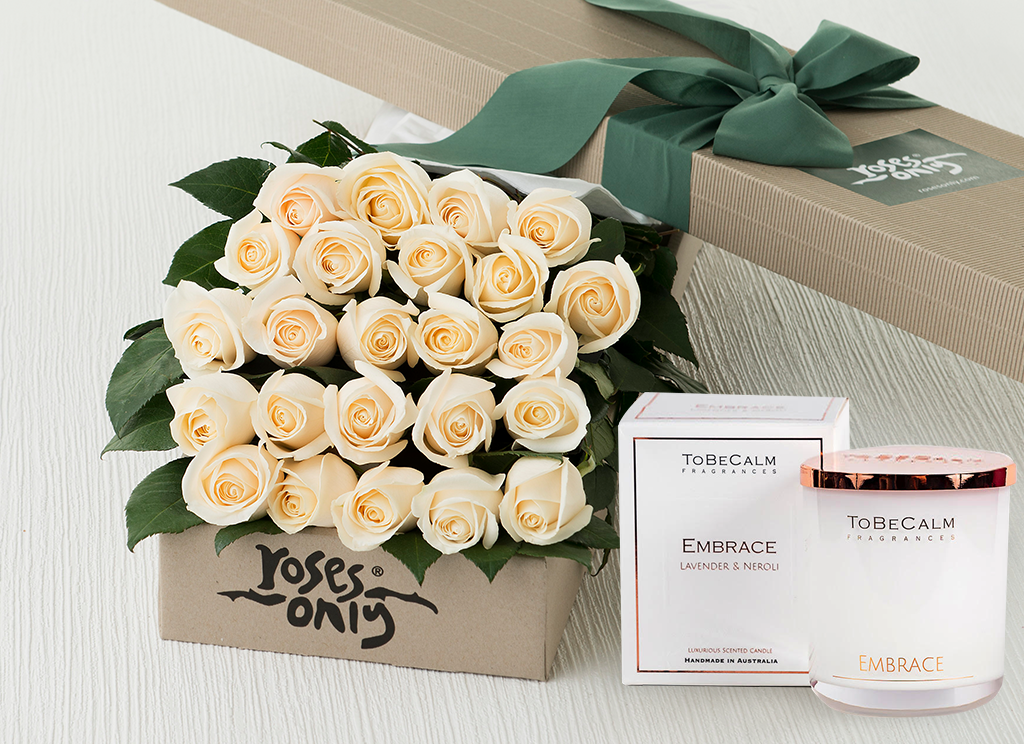 24 White Cream Roses Gift Box & Scented Candle