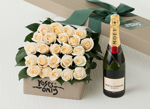 24 White Cream Roses Gift Box & Champagne
