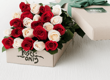 24 Mixed Red & White Roses Gift Box