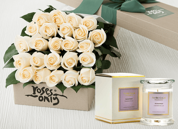 24 White Roses Gift Box & Scented Candle