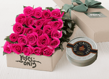 Mother's Day 24 Bright Pink Roses Gift Box & Chocolates