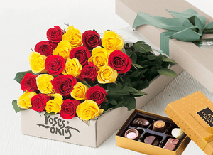 Mother's Day 24 MIXED RED & YELLOW ROSES GIFT BOX
