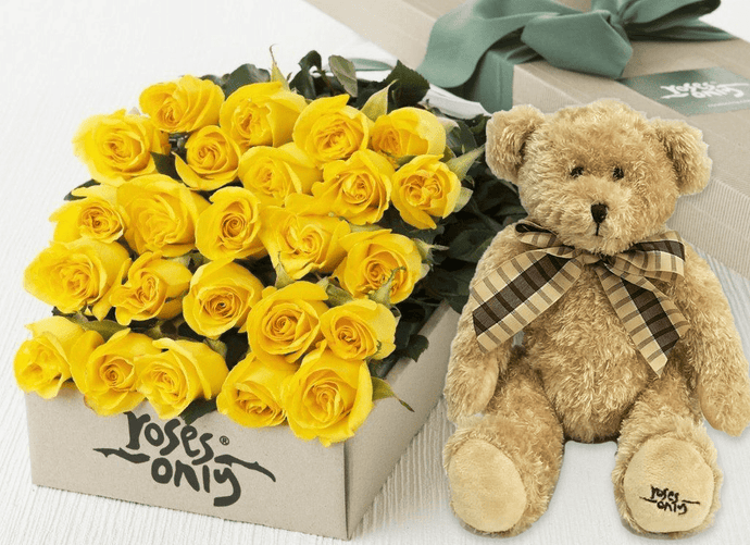 24 Yellow Roses Gift Box & Teddy Bear