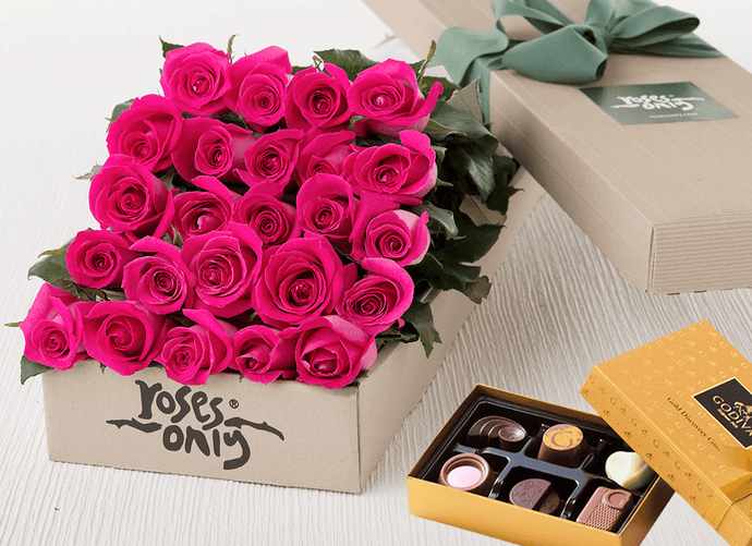 24 Bright Pink Roses Gift Box & Chocolates