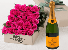 24 Bright Pink Roses Gift Box & Champagne