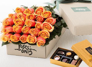 24 Cherry Brandy Roses Gift Box & chocolates