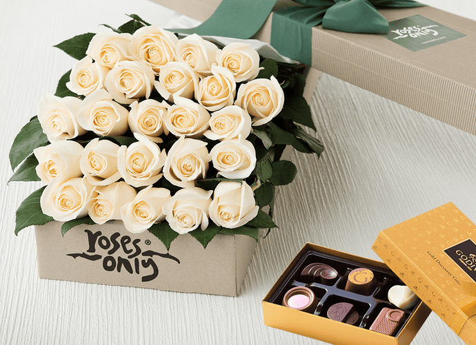 24 White Cream Roses Gift Box & Chocolates
