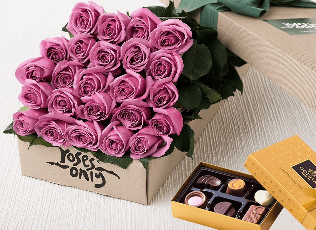 24 Mauve Roses Gift Box & Chocolates