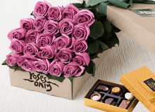 Mother's Day 24 Mauve Roses Gift Box & Chocolates