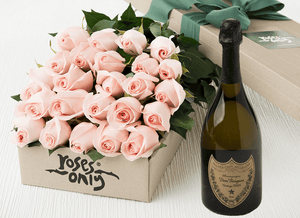 Pastel Pink Roses Gift Box 24 & Champagne