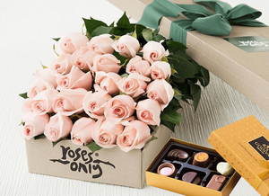 24 Pastel Pink Roses Gift Box & Chocolates