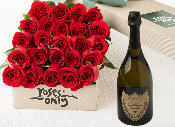 24 Red Roses Gift Box & Champagne