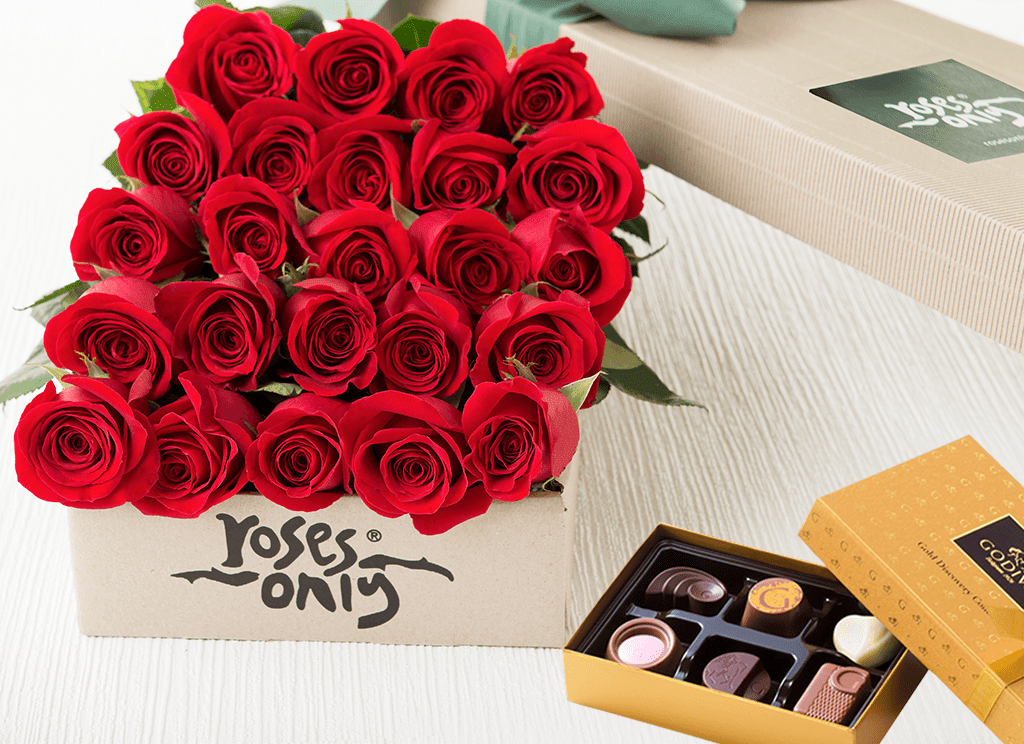 24 Red Roses Gift Box & Chocolates