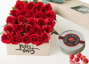 24 RED ROSES GIFT BOX &  LETAO PETIT CHOCOLATE