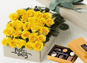 24 Yellow Roses Gift Box & Chocolates