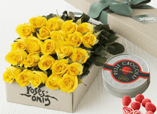 Mother's Day 24 Yellow Roses Gift Box & Chocolates