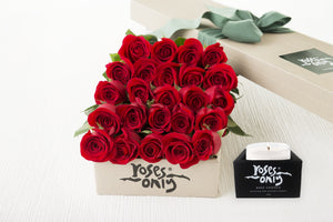 24 Red Roses Gift Box & Scented Candle