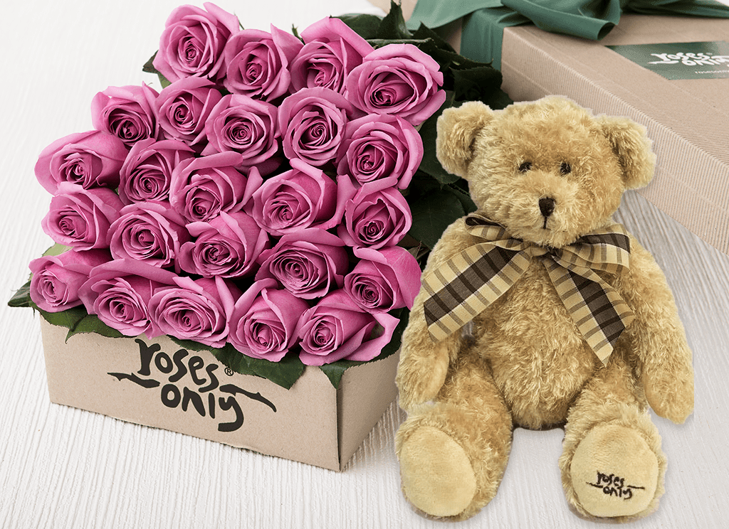 24 Mauve Roses Gift Box & Teddy Bear