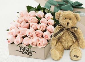 24 Pastel Pink Roses Gift Box & Teddy Bear